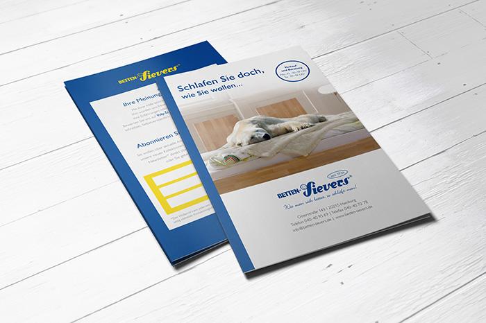 Flyer Newsletter und Bewertungen, Betten-Sievers