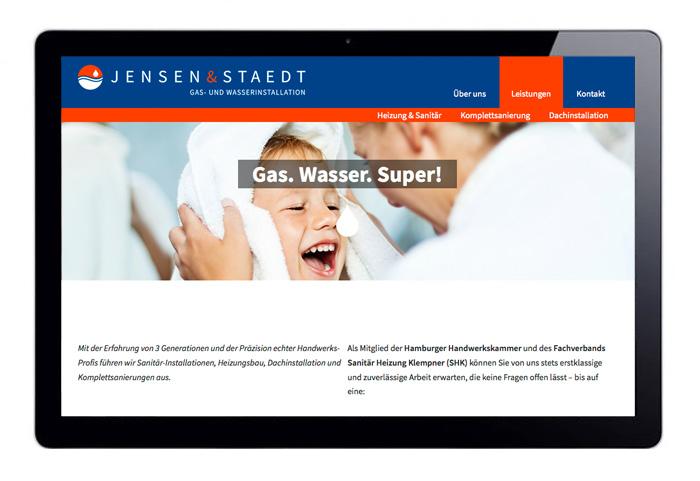 Web Design responsive Jensen & Staedt Leistungen