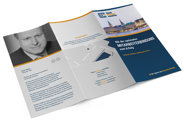 Folder, Flyer Mitarbeiterbindung, Thieme Retention Consulting