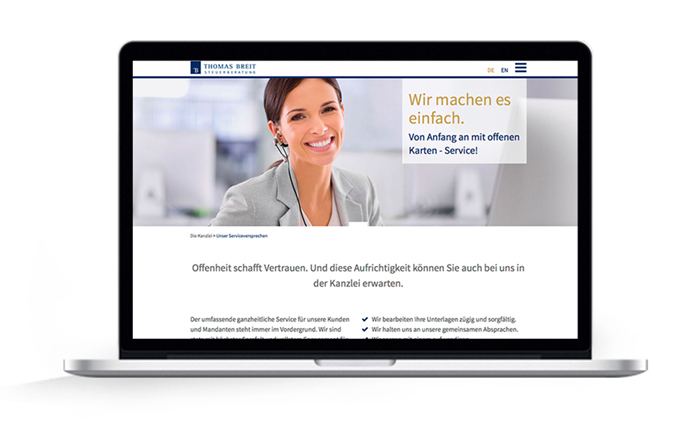 Webdesign responsive Thomas Breit Steuerberatung, Serviceversprechen
