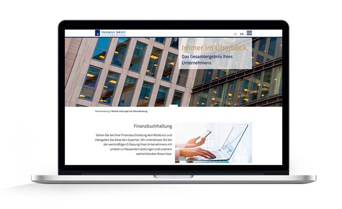 Webdesign responsive Thomas Breit Steuerberatung, Buchhaltung, Jahresabschluss