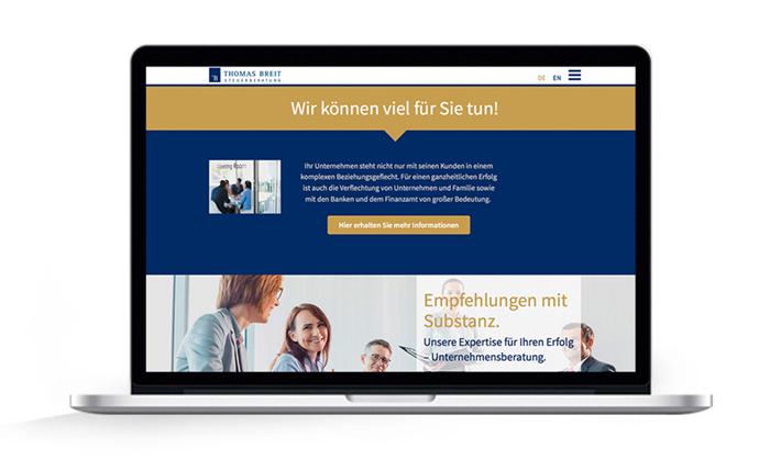 Webdesign responsive Thomas Breit Steuerberatung, Unternehmensumwandlung