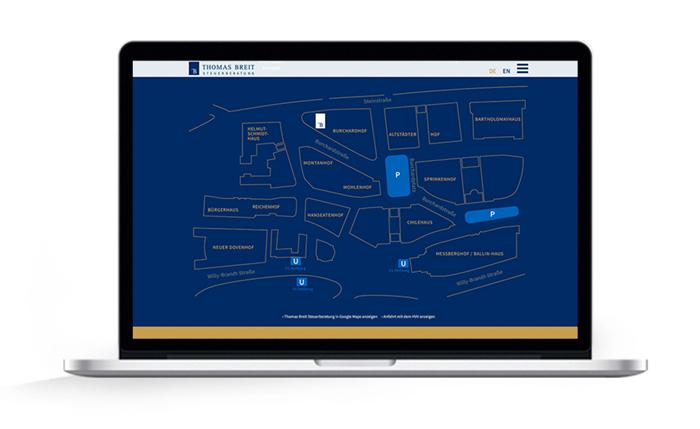 Webdesign responsive Thomas Breit Steuerberatung, Grafik Lageplan Kontorhausviertel