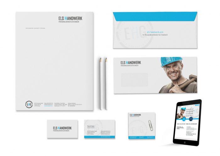 Logo, Visitenkarten, Briefbogen und Webdesign Elb Handwerk