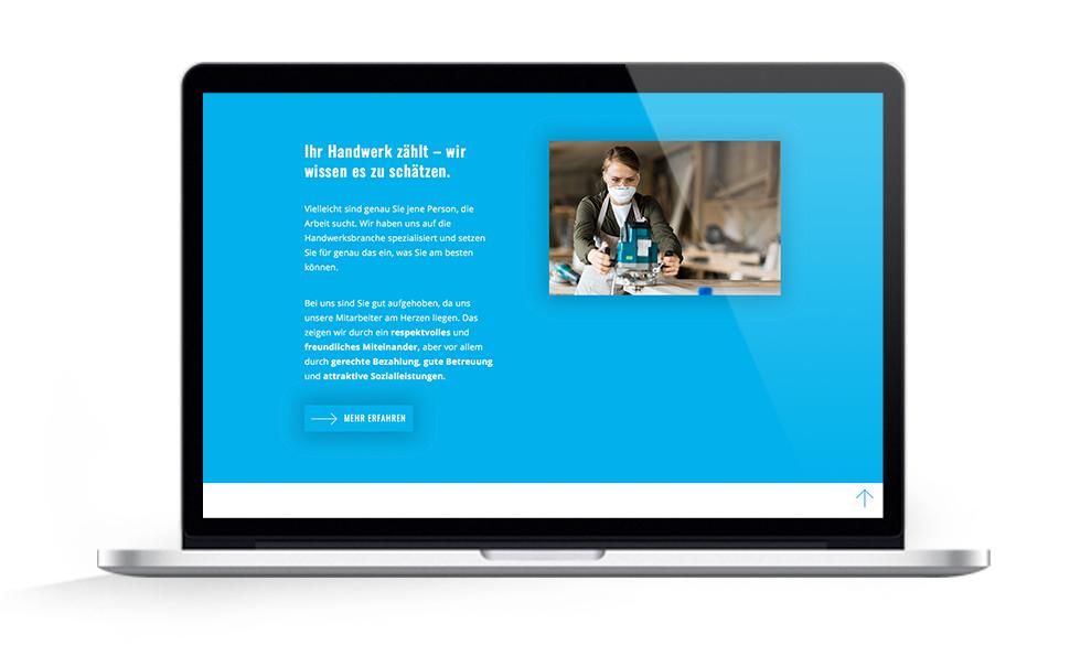 Webdesign EHG Elb Handwerk, Startseite