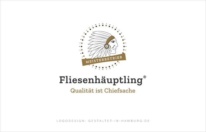 Logodesign Meisterbetrieb Fliesenhäuptling®, Qualität ist Chiefsache