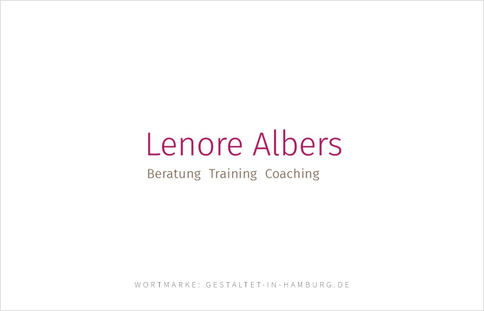 Logodesign, Wortmarke Lenore Albers Beratung, Training, Coaching