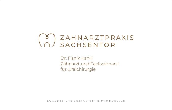 Logodesign Zahnarztpraxis Sachsentor Dr. Fisnik Kahili, Zahnarzt und Fachzahnarzt für Oralchirurgie, Logodesign: gestaltet-in-hamburg.de