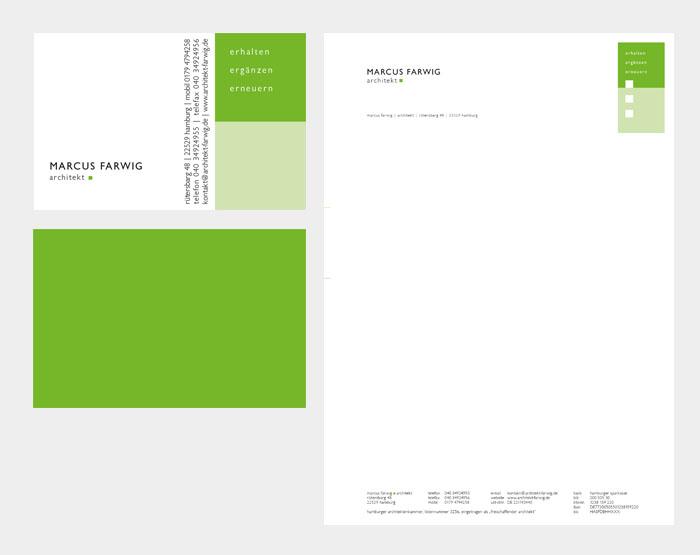 Visitenkarten und Briefbogen Marchus Farwig, Architekt Hamburg