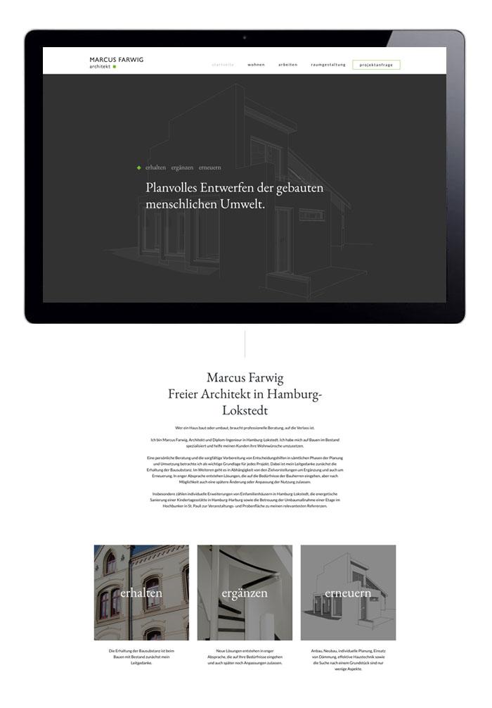 Webdesign Startseite Marcus Farwig, Architekt