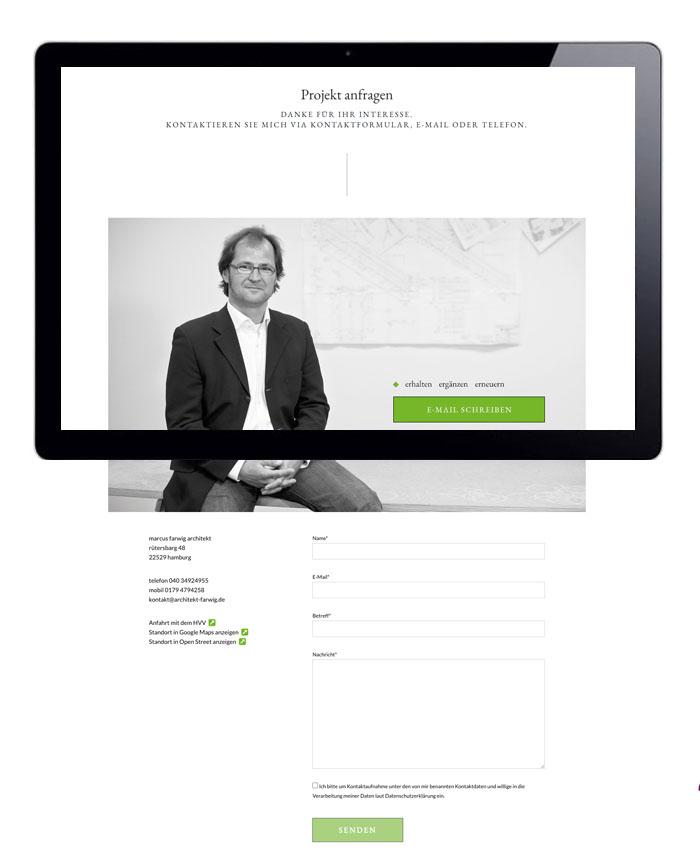 Webdesign Projektanfrage mit Kontaktformular, Marcus Farwig, Architekt