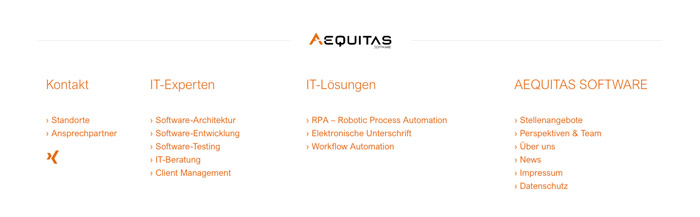 Webdesign Aequitas Software Hamburg, Footer