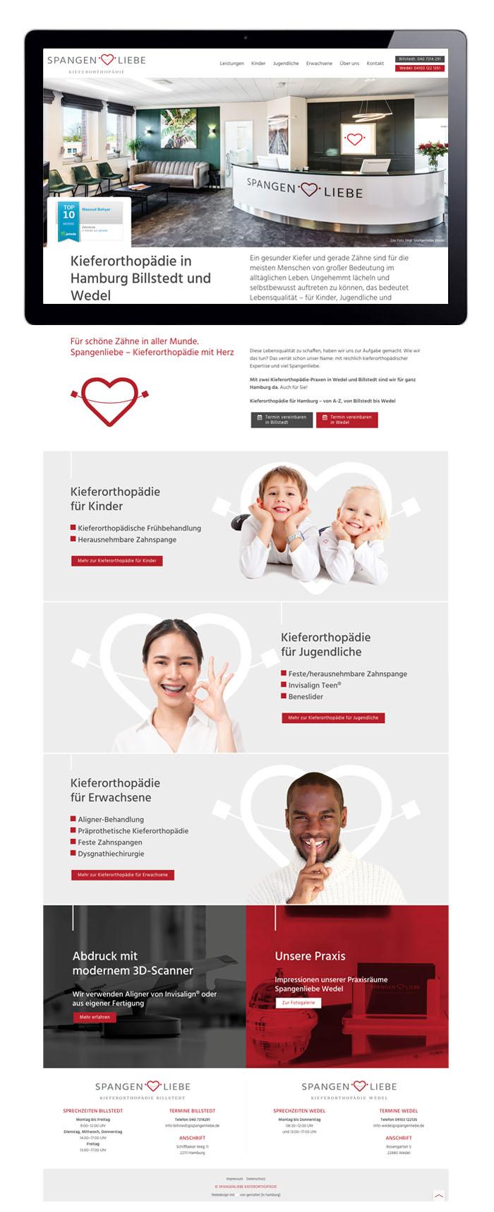 Responsive Webdesign Spangenliebe Zahnarzt Kieferorthopädie Startseite