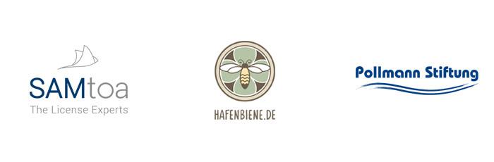 Logodesign gestaltet in Hamburg für Samtoa, Hafenbiene und Pollmann Stiftung