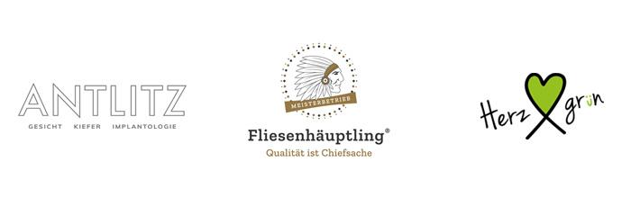 Logodesign aus Hamburg für Antlitz Berlin, Fliesenhäuptling und Herzgrün