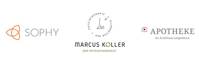 Logodesign gestaltet in Hamburg für Sophy, Marcus Koller Physiotherapeut und Apotheke Langenhorn