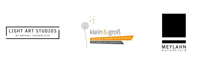 Logodesign gestaltet in Hamburg für Light Art Studios, klein & groß und Meylahn naturstein